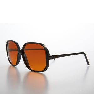 Women's Oversized Octagon Sunglass with Amber Lens- Babbs