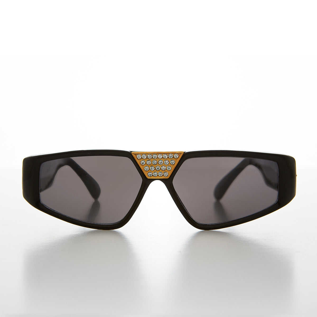 Flat Top Hip Hop Vintage Sunglass with Rhinestone Bridge