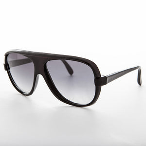 1980s square true vintage aviator black with gradient lens