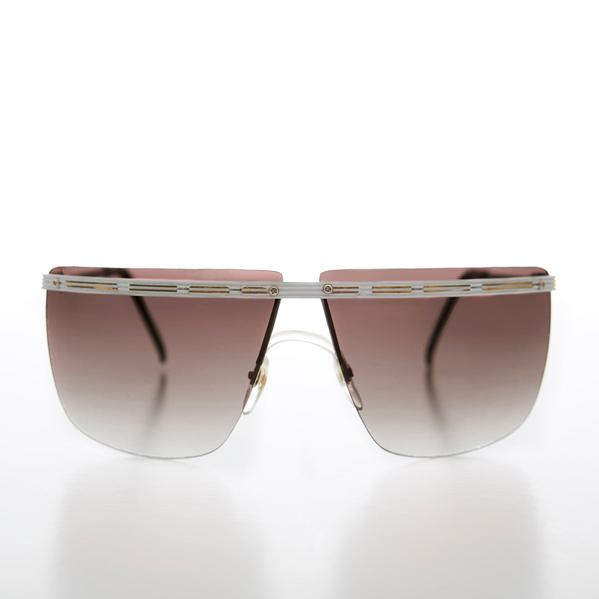 Big 80s Rimless Sunglass with Gold Detail