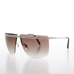 Load image into Gallery viewer, Big 80s Rimless Sunglass with Gold Detail