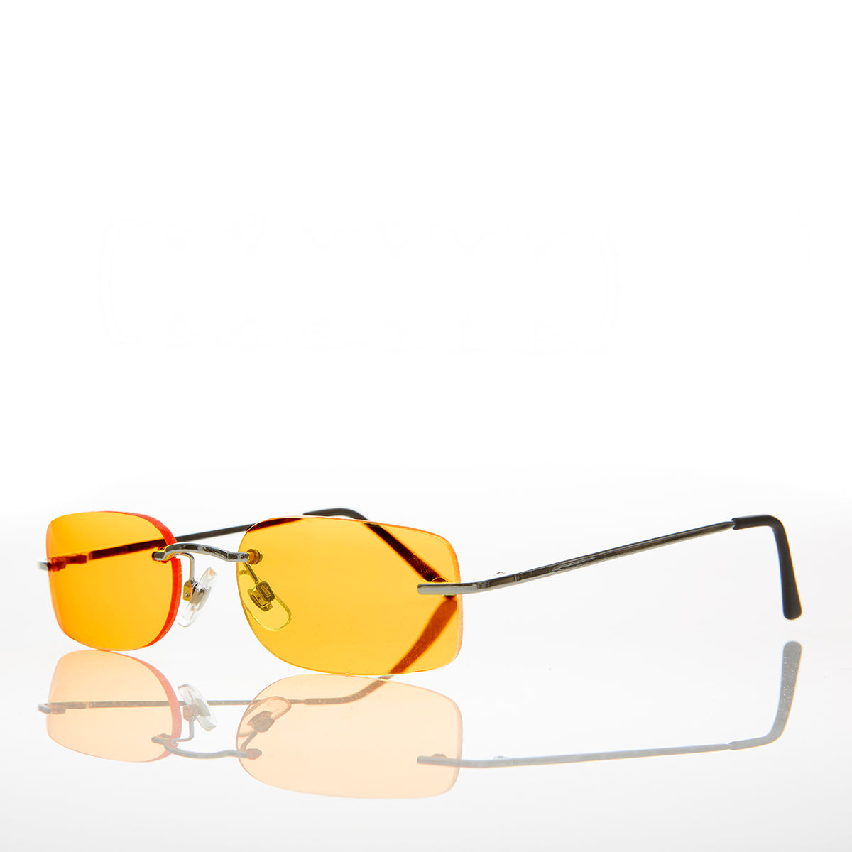 orange lens rimless sunglass