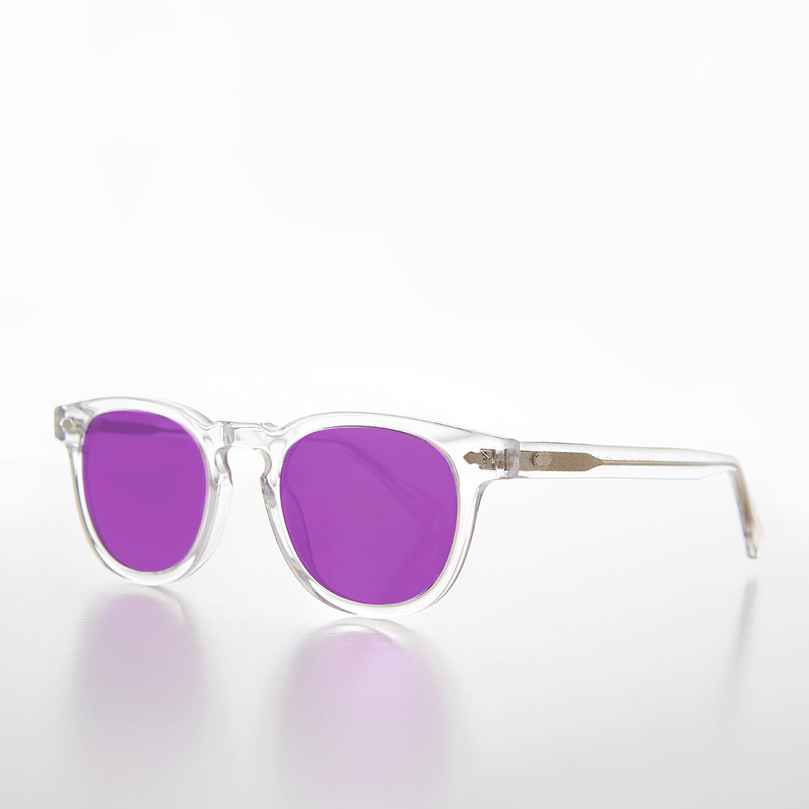 Clear Acetate Square Sunglass with Yellow Lens