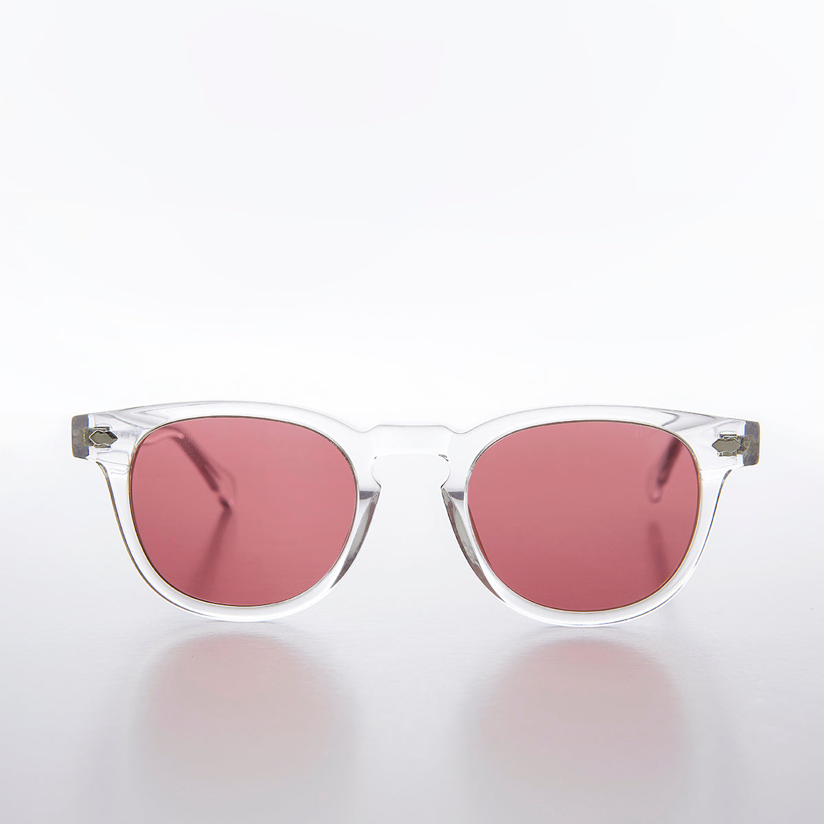 Clear Acetate Square Sunglass with Pink Lens