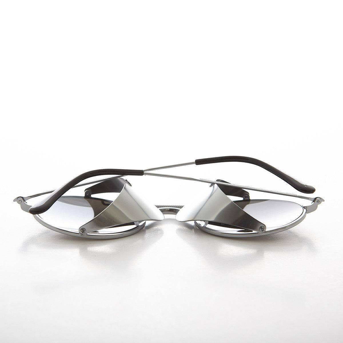 Silver Steampunk Sunglass with Folding Side Shields