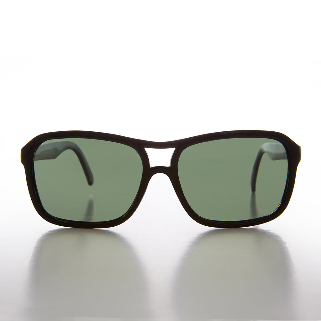 Square Black Aviator with Glass Impact Resistant Lens