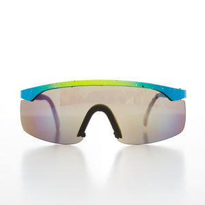 Neon Tri-Color Speckled Wrap Small Adult Vintage 80s Sunglass