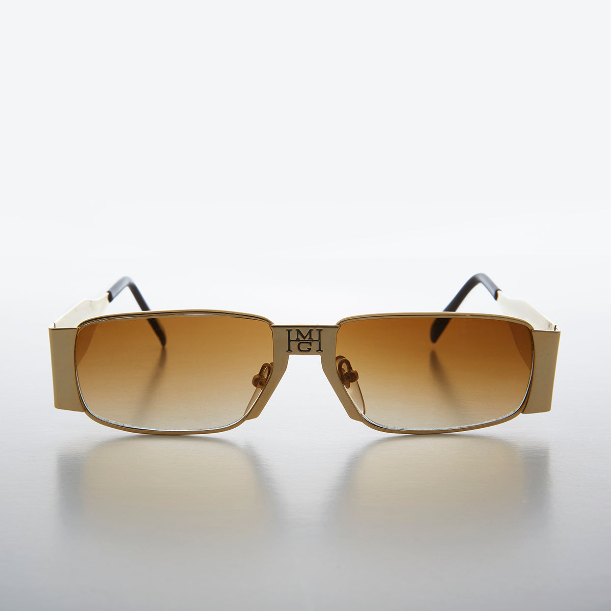 Rare Unique Gold Sleek Hip Hop Bling Rapper Sunglasses