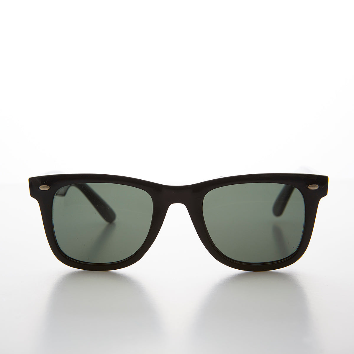 Classic Black Square Sunglass with Glass Lens - Campbell