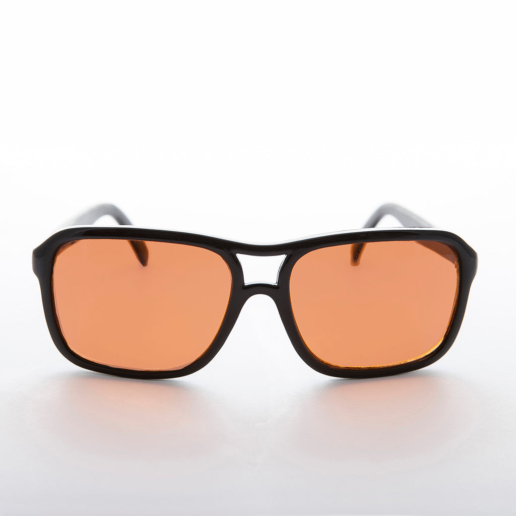 square vintage aviator with blue blocker lens