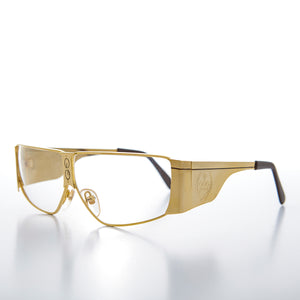 Large Gold 1980s Old School Optical Frame Eye Glasses