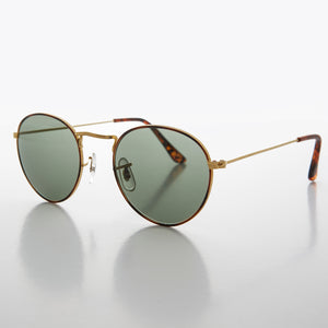 Round Gold Glass Lens Sunglass with Tortoise Rim