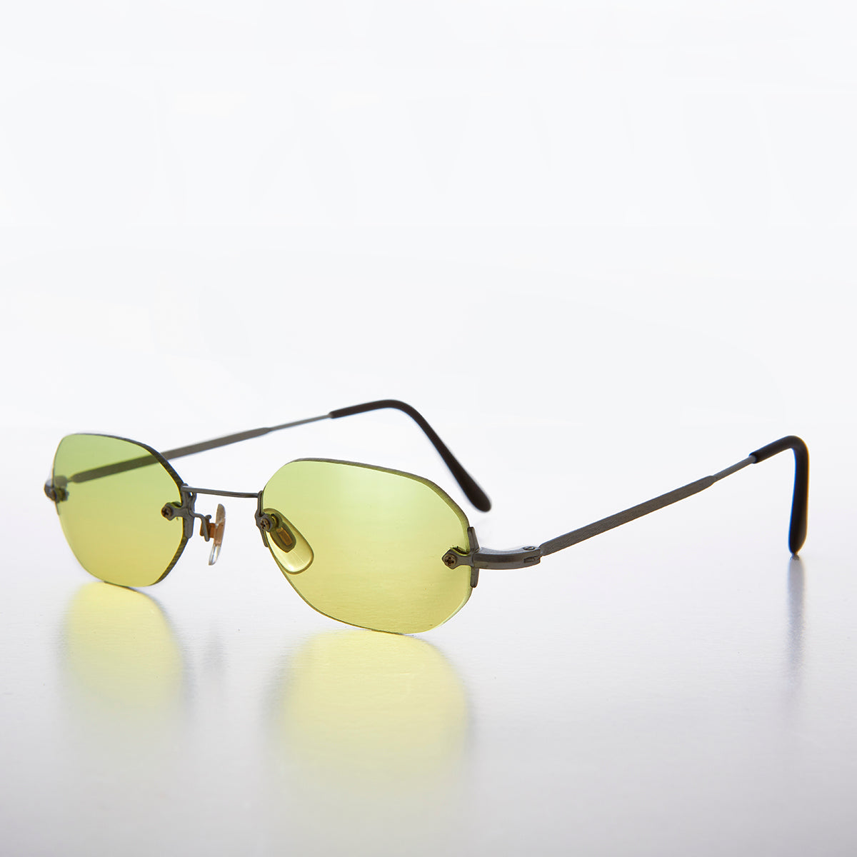 90s Colored Lens Rimless Octagon Vintage Sunglass