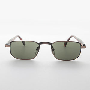 metal mens low profile classic rectangular vintage sunglasses