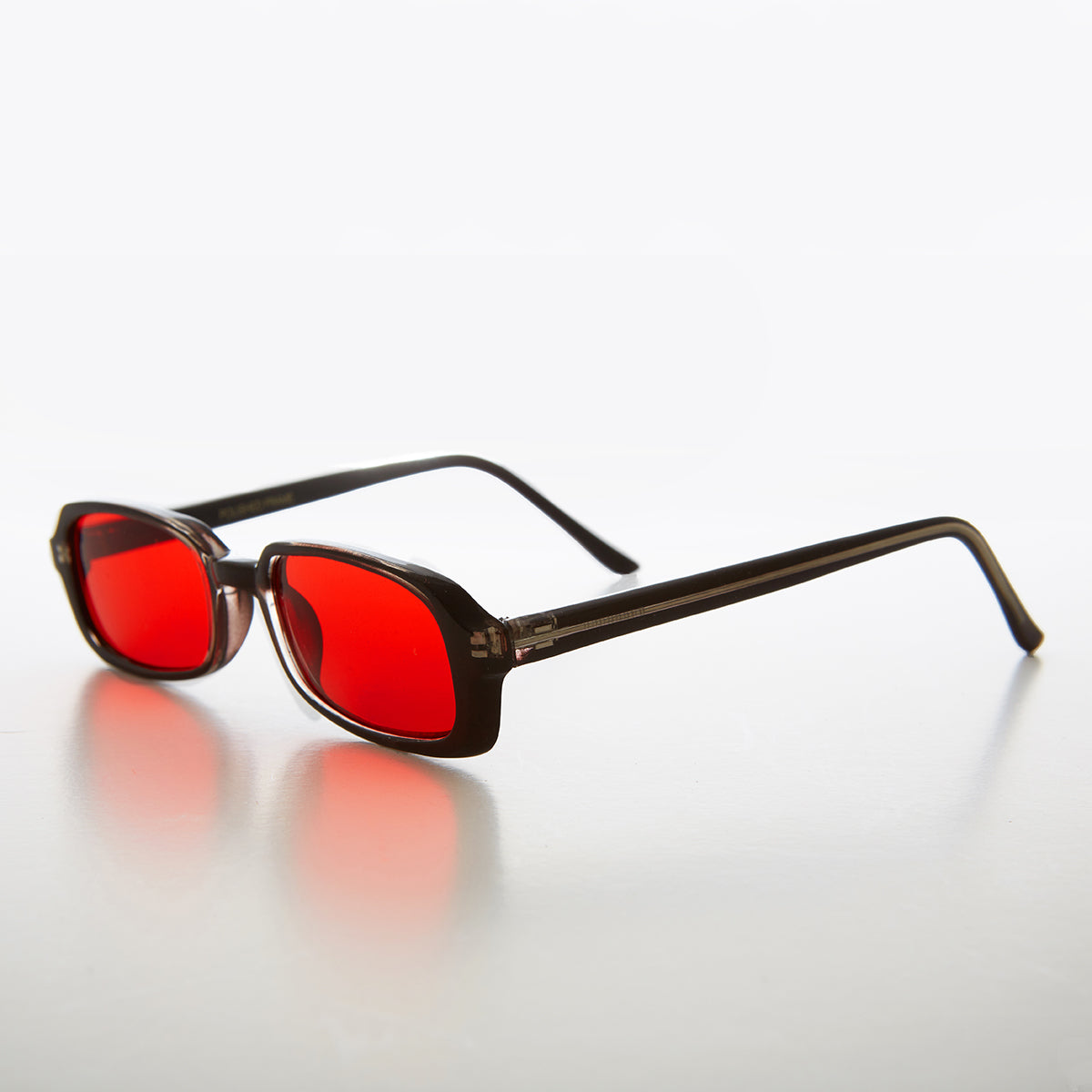 Rectangular red Color Tinted Lens 90s Vintage Sunglass
