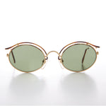 Load image into Gallery viewer, Gold Oval Tortoise Eyelid Vintage Sunglass
