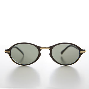 Oval Sunglass with Gold Accents Key Hole Bridge