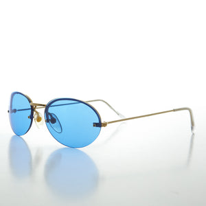 blue tinted color lens oval sunglass