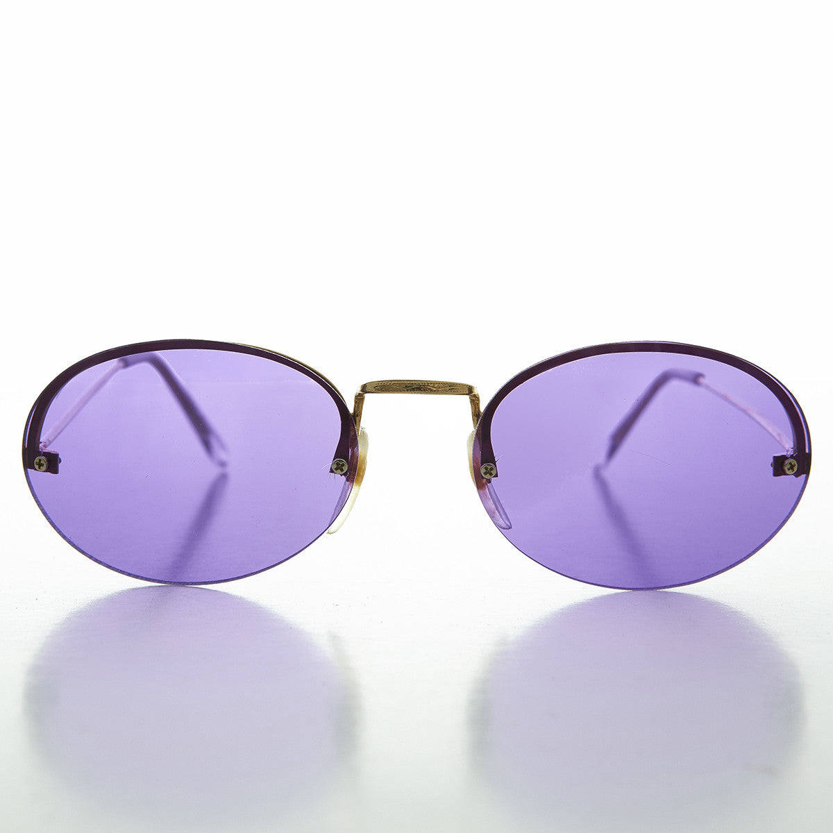 purple tinted color lens oval sunglass