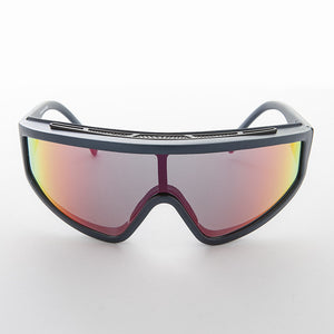 vintage sports shield mirror lens sunglass