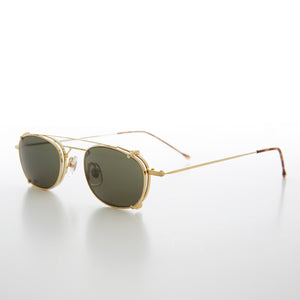 Clip on Gold Steampunk Aviator with Clear Lens Glasses