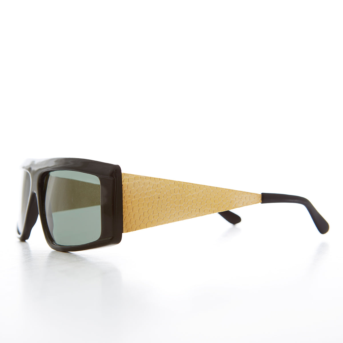 Flat Top Rapper Sunglass with Gold Wide Temples