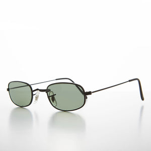 Thin Small Rectangular Frame 90s Vintage Sunglass with Glass Lens