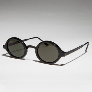 Art Deco Oval Vintage Sunglasses with Embossed Metal Temples - Degas