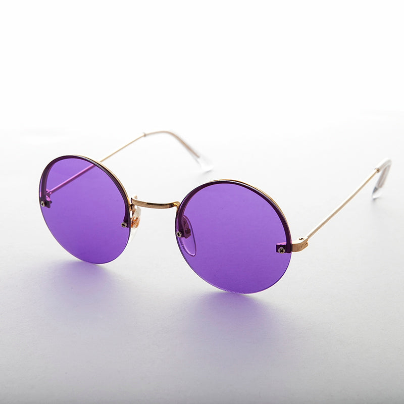 Purple Round Hippie Rimless Colored Lens Sunglass