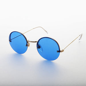 blue rimless colored lens round vintage sunglass