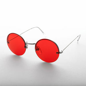 Red Round Hippie Rimless Colored Lens Sunglass