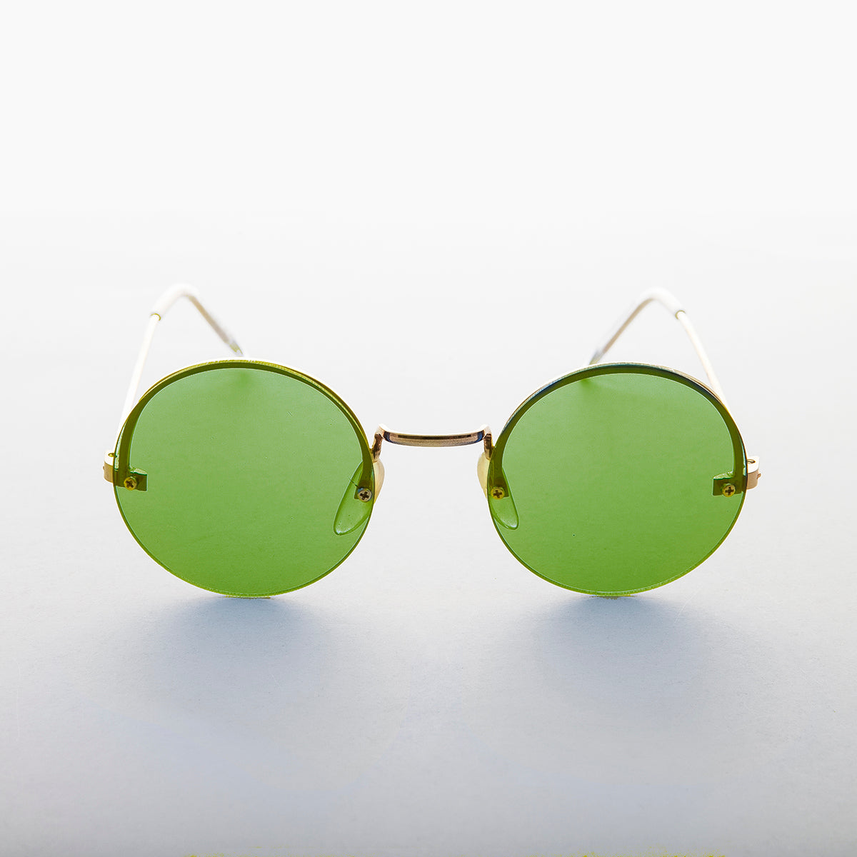 Green Round Hippie Rimless Colored Lens Sunglass