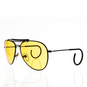 Yellow Lens 90s Aviator with Cable Temples and Brow Bar