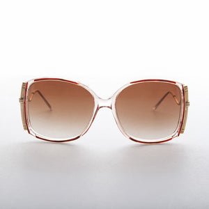 square oversized womens vintage 1980s sunglass with gradient lens