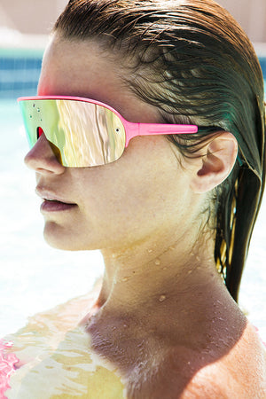 80's neon sporty shield warp vintage sunglass with mirror