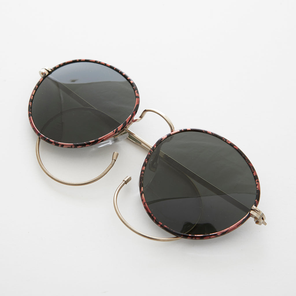 Round Vintage Sunglass with Curly Cable Temples