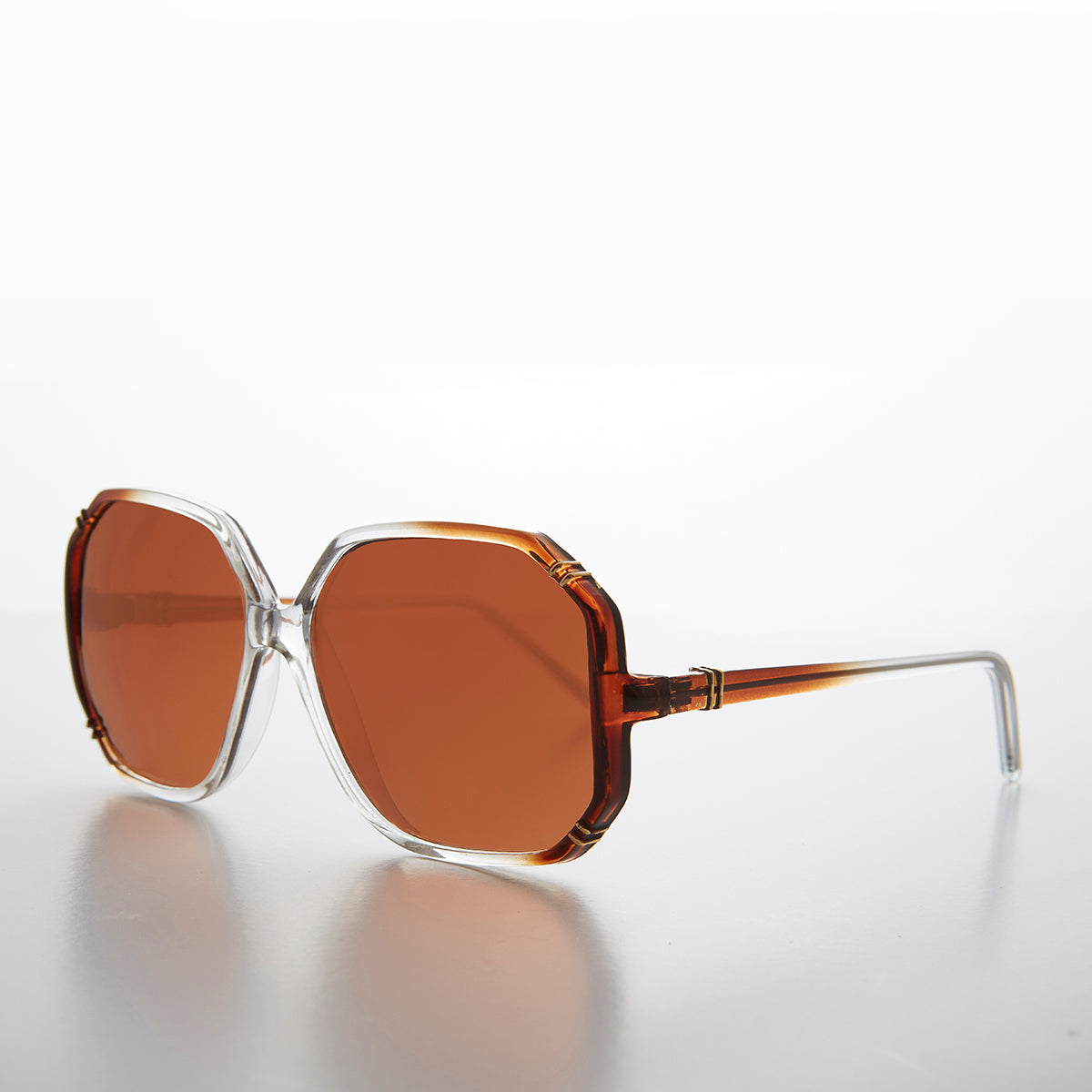 Women's Oversized Octagon Sunglass with Copper Driving Lens