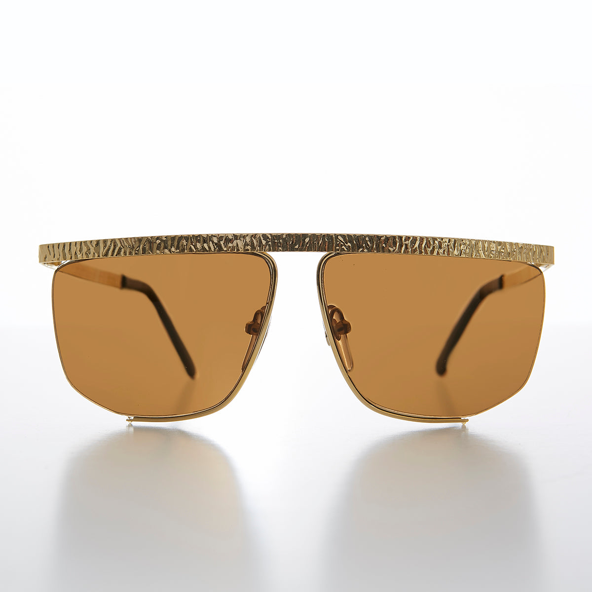 Gold Semi Rimless Hip Hop Vintage Sunglasses
