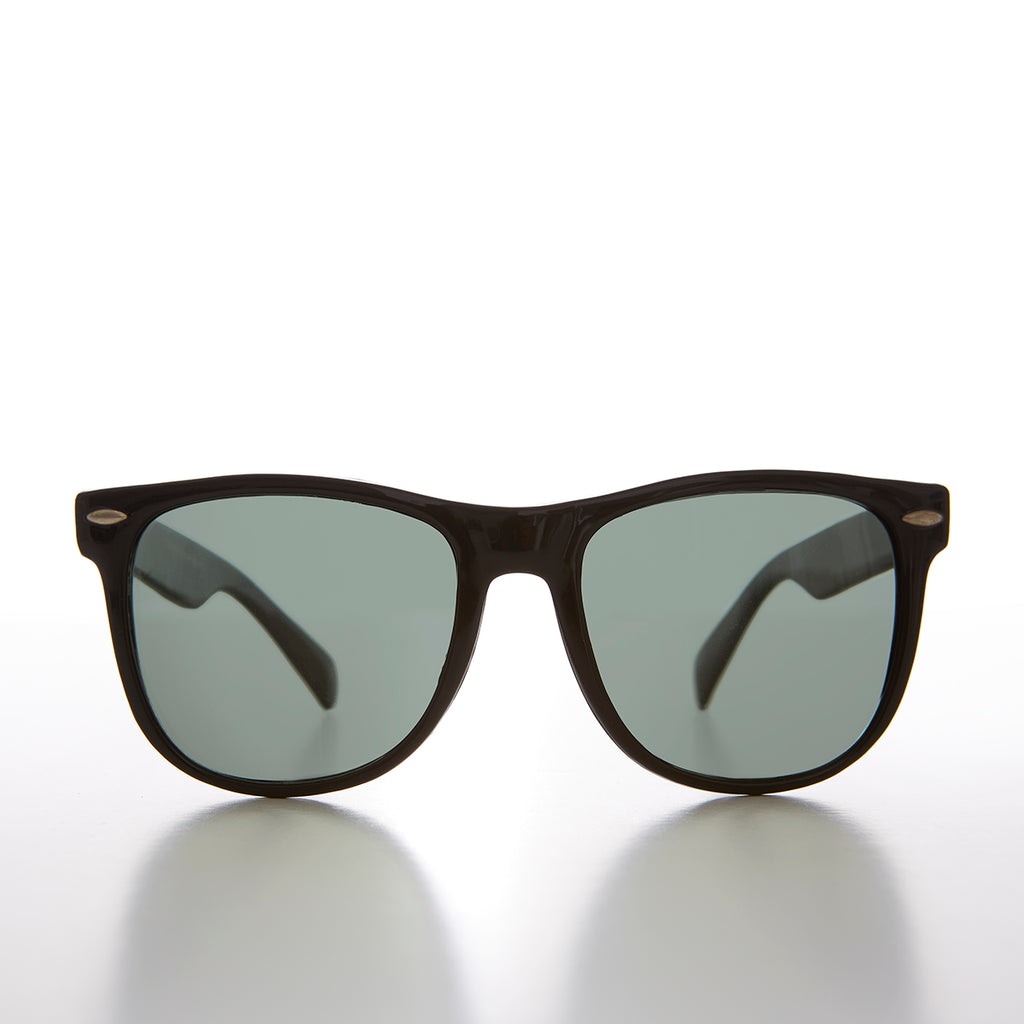 Big Classic Square Black Vintage Sunglass with Glass Lens