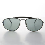Black square vintage aviator with brow bar and glass lens