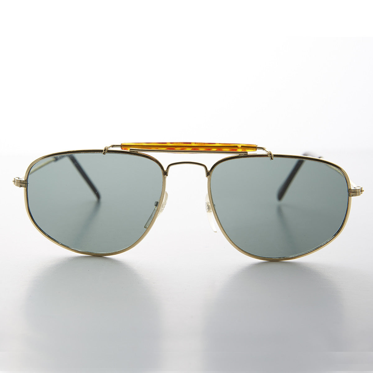 Gold square vintage aviator with brow bar and glass lens