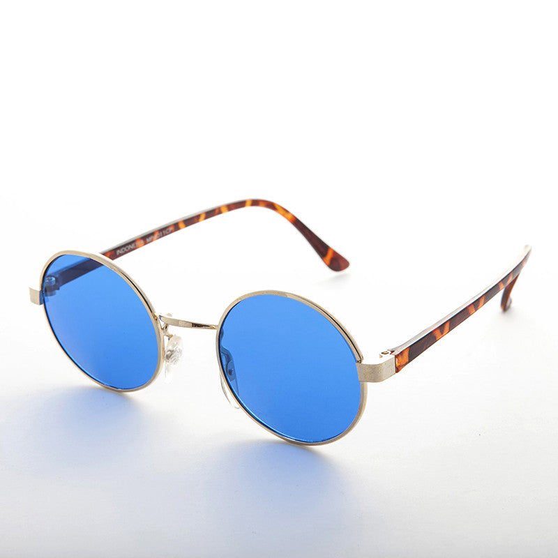 round blue colored lens john lennon vintage sunglass