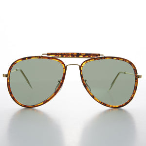 wrapped tortoiseshell vintage aviator sunglass with glass lens