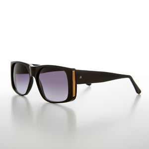 Square Block Sunglass with Gold Rim Accents 80s
