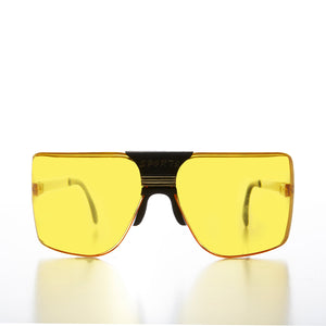 80s Terminator Wrap Vintage Sunglasses with Yellow Lens