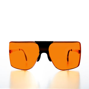 Amber Lens 80s Terminator Sports Shield Vintage Sunglasses
