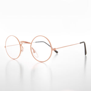 Small Round Spectacle Eyeglass Real Glass Lens Optical Frame