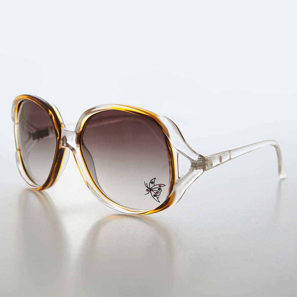 Large Women's Sunglass with Rhinestone Butterfly