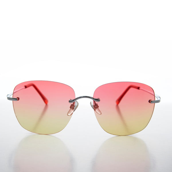 ocean colored lens rimless women's sunglas
