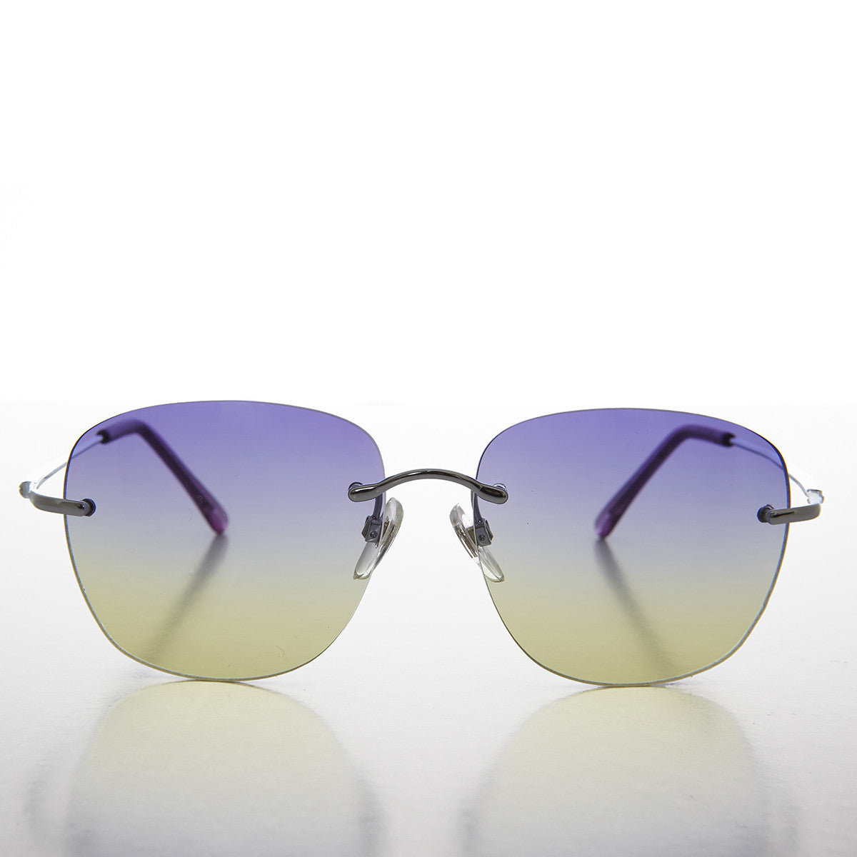 ocean colored lens rimless women's sunglass